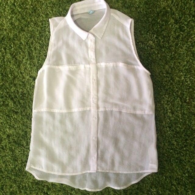 Bershka White Sleveless Shirt