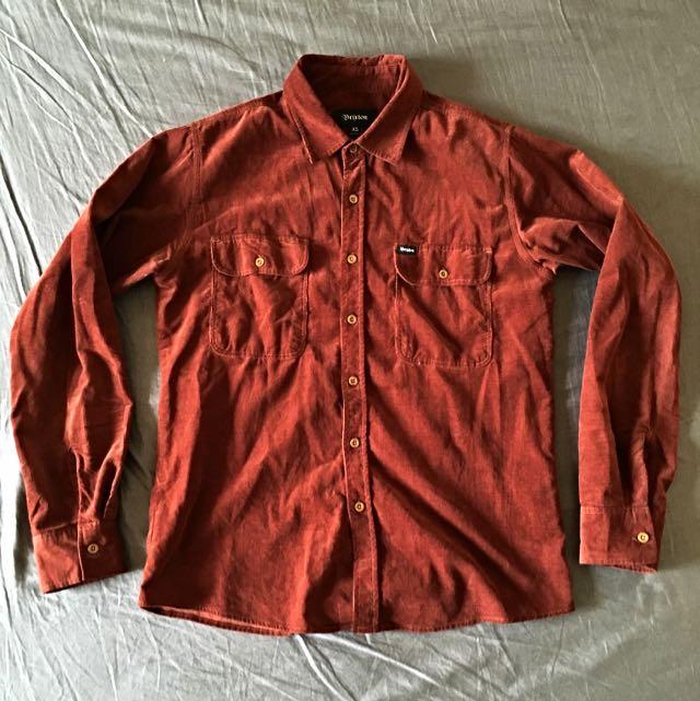 Brixton 紅色燈芯絨襯衫 木扣