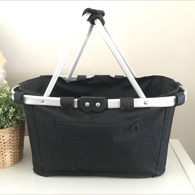 Picnic Basket - Black with Metal Handle - Folds Up