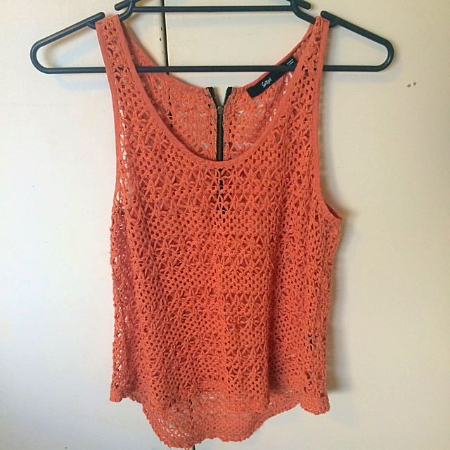 Sportsgirl Orange Mesh Top