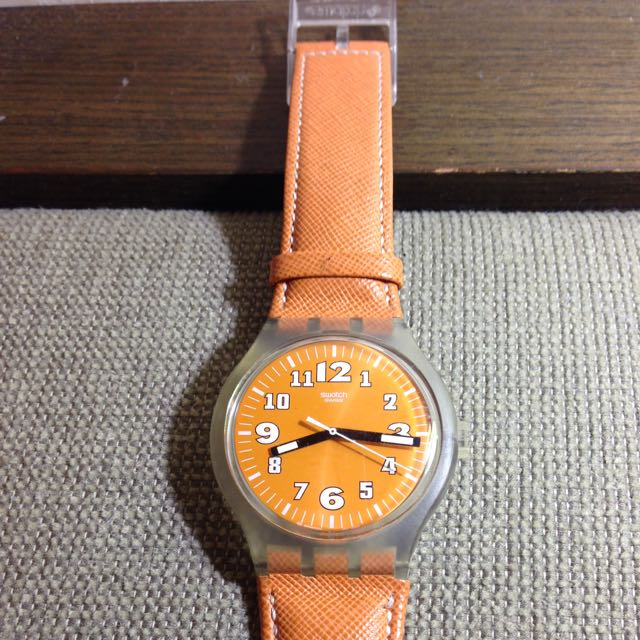(降價了)Swatch 大鏡面,橘色亮眼7~8成新。(