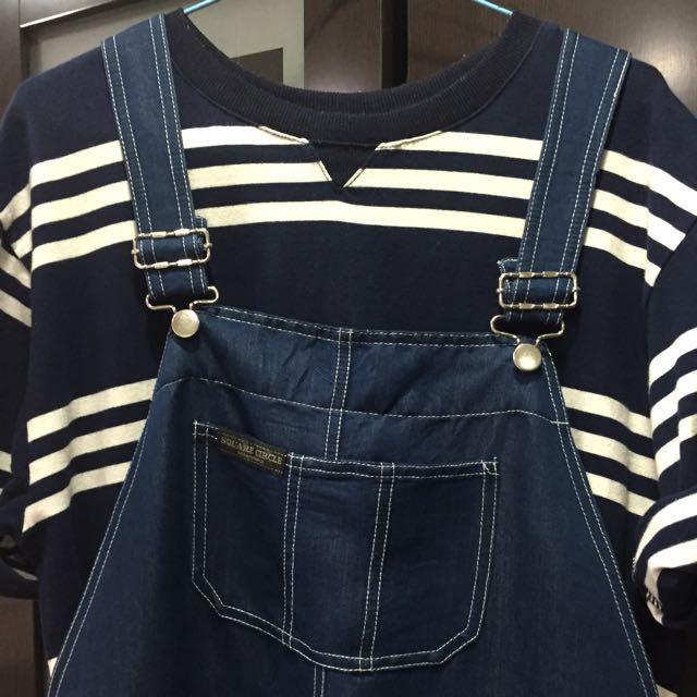 古著牛仔吊帶裙+條紋韓國T