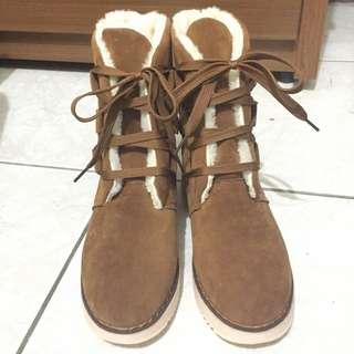 🚚 綁帶絨毛雪靴(褐色)