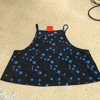 Black With Blue Flowers Pattern Crop