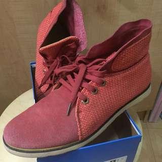 橘紅麂皮休閒高筒休閒鞋