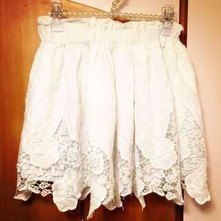 白色緹花蕾絲棉質短裙