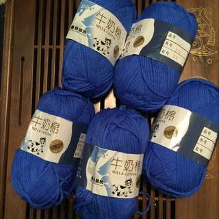 Electric Blue Milk Cotton Yarns For Sales.