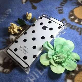 氣質 水玉 黑圓點點兒 Iphone6 Plus 白色手機套背殼清水套果凍套 現貨