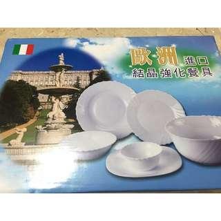 全新 全白強化陶瓷餐組