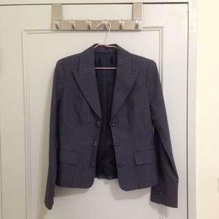 深藍細白條紋西裝外套