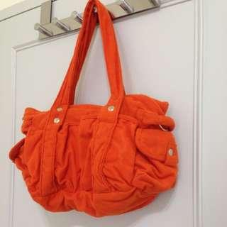 全新 橘色休閒布包