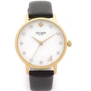 🚚 美國購入 Kate Spade New York 金框真皮水鑽字母手錶 全新 現貨一只
