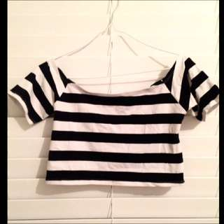 Black And White Striped Cropped Top