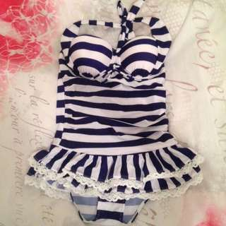 One Piece Blue And White Striped Swimsuit