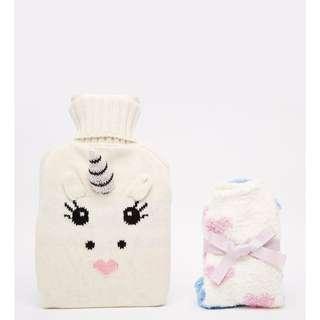 ASOS 獨角獸造型熱水袋+睡襪 禮物組合