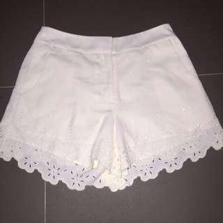 White TOPSHOP Shorts Lace Cut Detailing Size 10