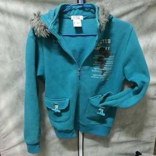 Marji 毛帽藍綠外套(含運)