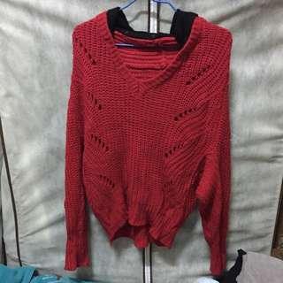 針織大紅毛衣(含運)