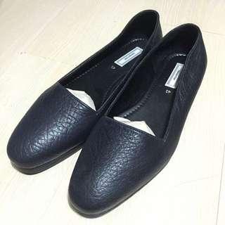 全新深藍色真皮質感便鞋