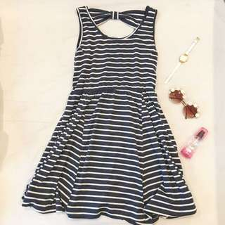 Retro Girl Navy Sailor Stripe Ribbon Dress