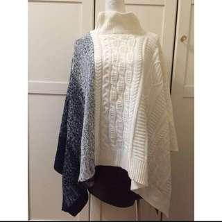 冬季出清全新-設計款毛料針織 蝙蝠 傘狀