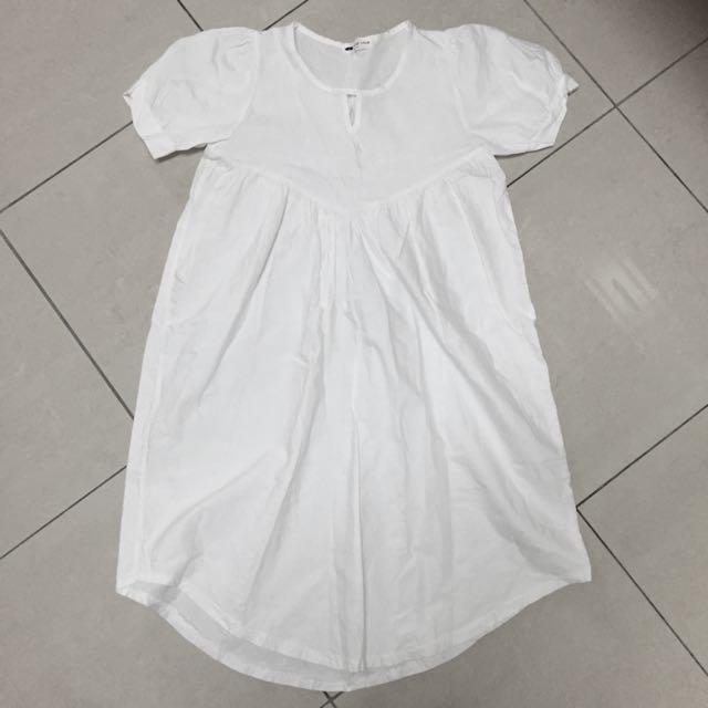✨白色短袖長洋裝✨