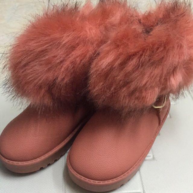 (好搭款)粉色刷毛小皮兒童短靴(現貨)