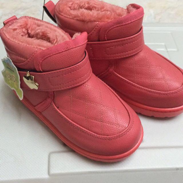 可愛刷毛小皮兒童橘紅短靴(現貨)