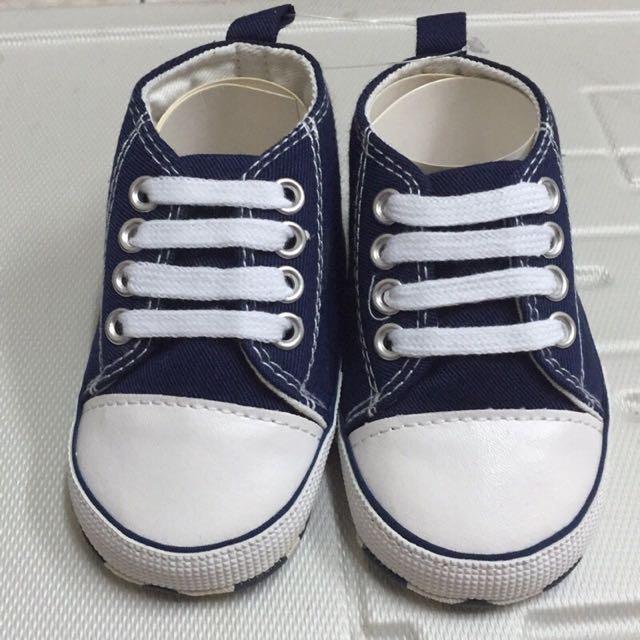 (小瑕疵)小小帥氣藍色帆布學步鞋(現貨)