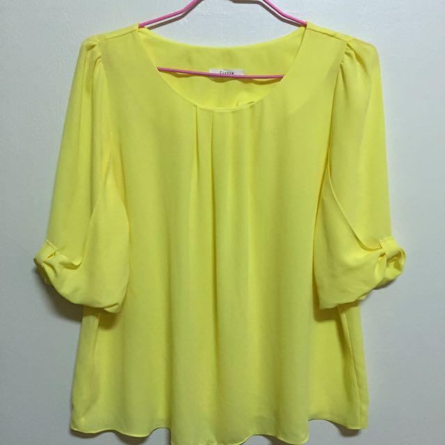 亮黃色正韓版雪紡上衣