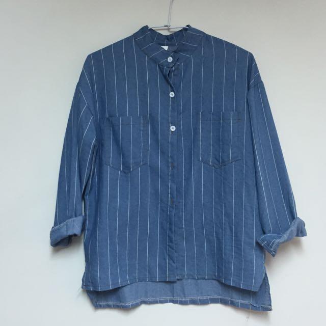立領直條紋襯衫👕