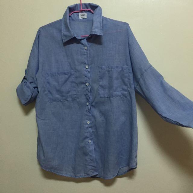 韓版藍色男友襯衫