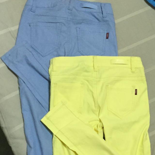 極顯瘦貼身伸縮長褲 淡藍螢光黃