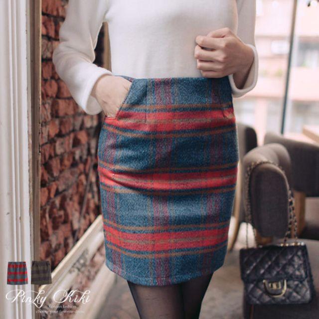 全新轉賣紅綠格紋窄裙 表面柔軟刷毛無內裡