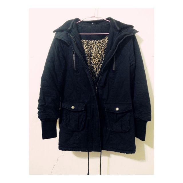 純黑 超厚重磅軍裝拉鍊外套 內豹紋刷毛拉鍊小故障