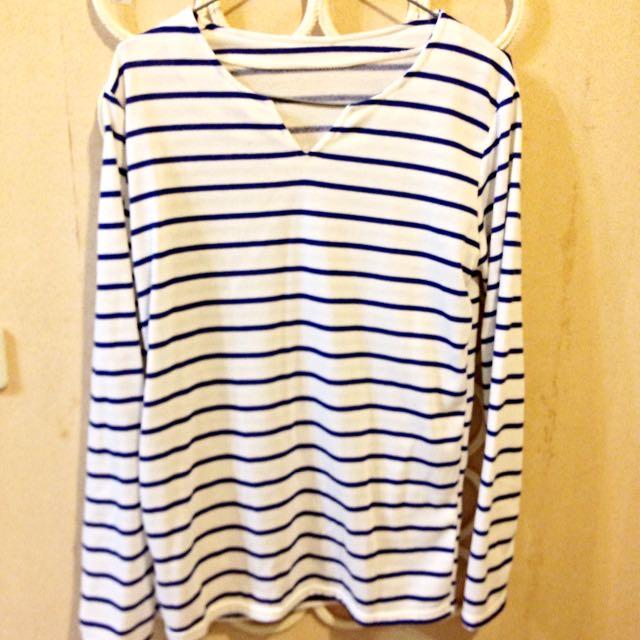 藍白配 線條 長袖 全新