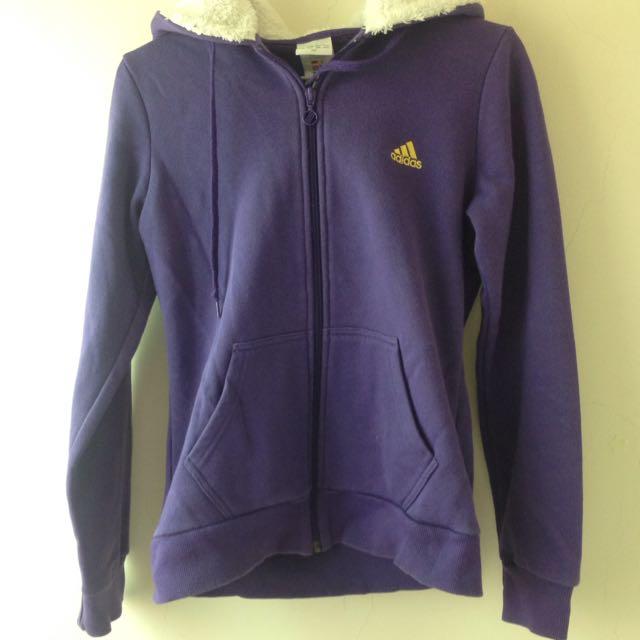 《二手》adidas 紫色連帽外套