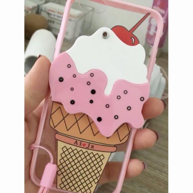 ☆Aly Look☆(現貨)櫻桃可愛冰淇淋鏡子手機殼6plus雪糕保護套軟