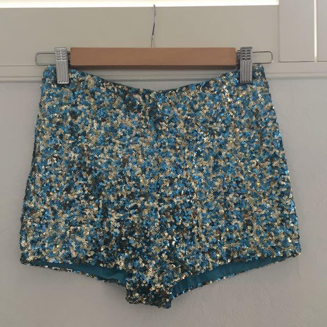 Blue & Gold Sequin Hotpants