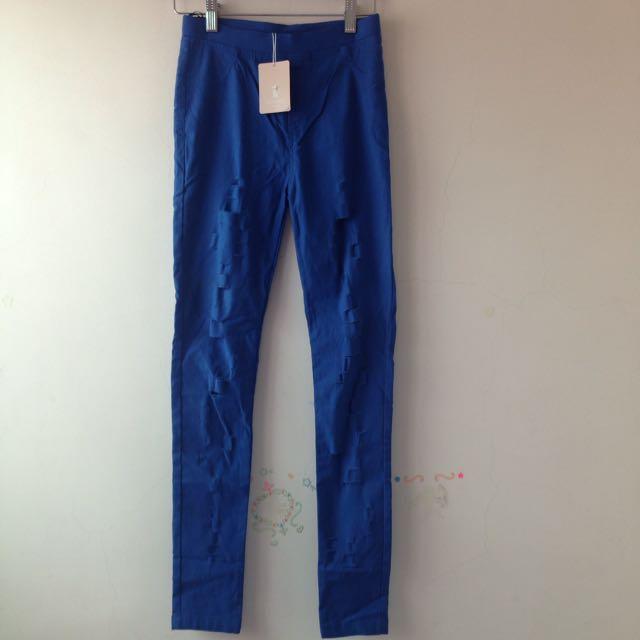 《全新含吊牌》Catwrold 藍色刷破緊身褲