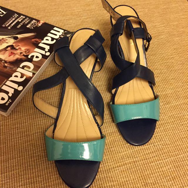 Easy spirit 全新專櫃水藍涼鞋 底很軟 舒適 8號