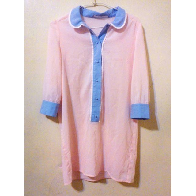 全新轉賣PAZZO 粉藍 輕薄雪紡紗長版襯衫