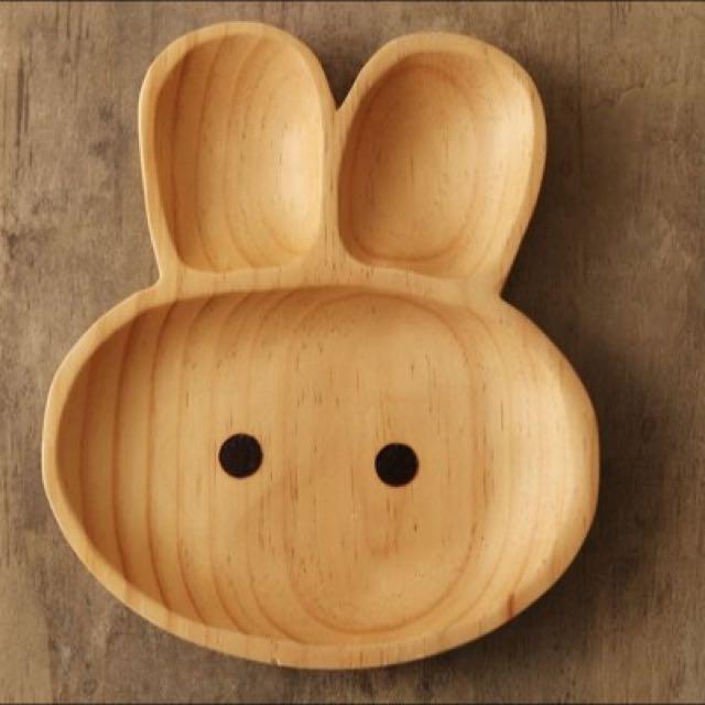 日本PETITS ET MAMAN可愛動物木製點心盤&湯匙組(日本直送,正版商品)