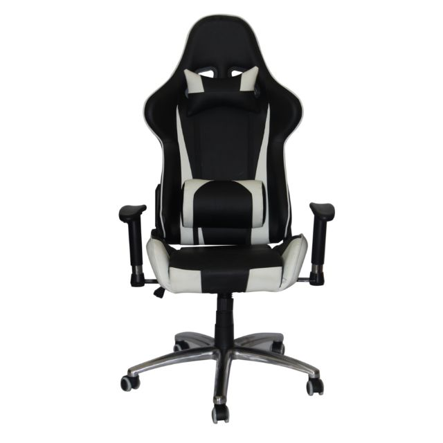PROMO* Black and White Gaming Chair/Racer Chair