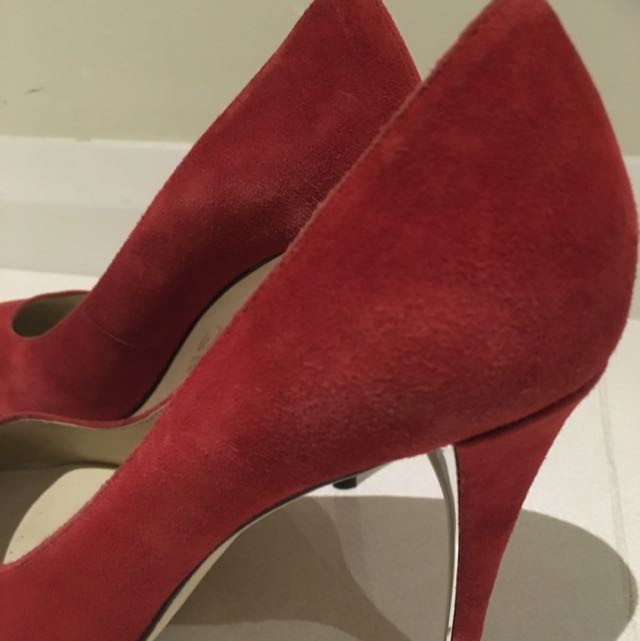 bf700e1051f Wittner Red Suede Leather Pumps, Women's Fashion on Carousell
