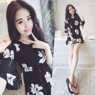 BS三月新品  日韓版洋裝連衣裙(黑色B10454