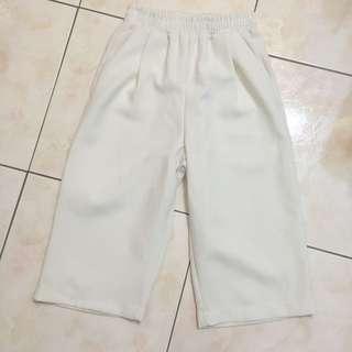 7分挺版修身白寬褲(全新)