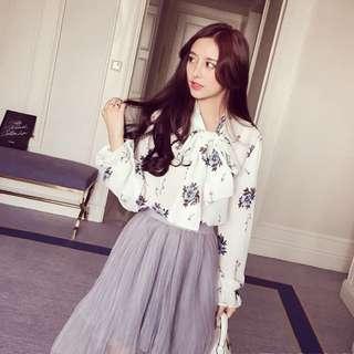 BS三月新品  韓版領結印花雪紡襯衫(單色白色)91B1(30227)