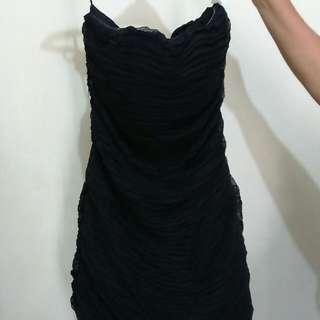 No Excuse, Pleated Tube Black Dress, Size 40
