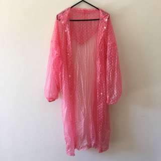 Pink Polka Dot Long Rain Coat